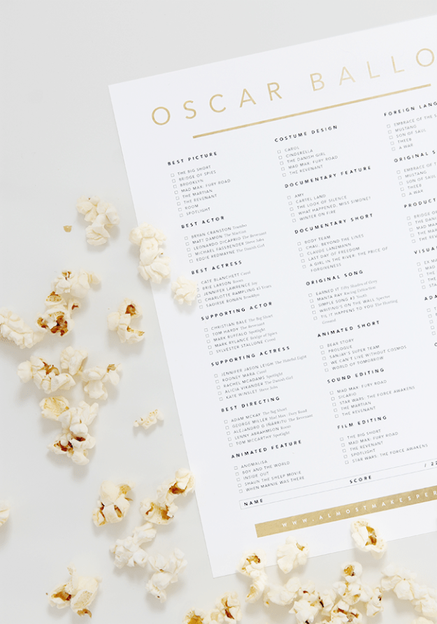 printable 2016 oscar ballot | almost makes perfect
