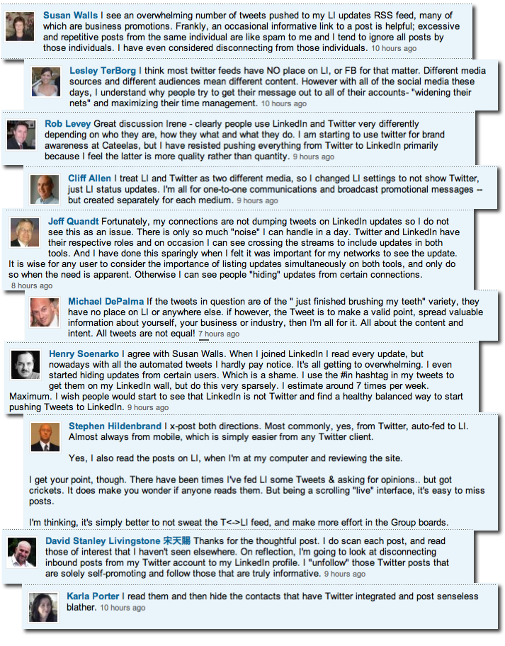 linkedin comments twitter facebook - Connecting Twitter to LinkedIn: Just Say No