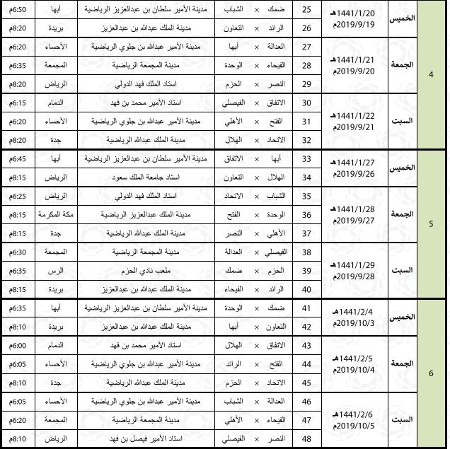 جدول مباريات الدور الأول من الدوري السعودي صحيفة المواطن الإلكترونية