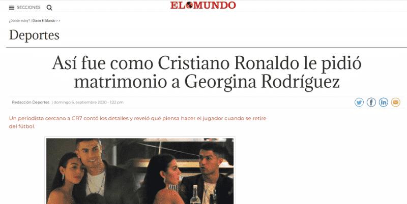 تفاصيل طلب كريستيانو رونالدو يد جورجينا للزواج