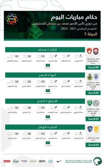 حكام مباريات الخميس في دوري محمد بن سلمان