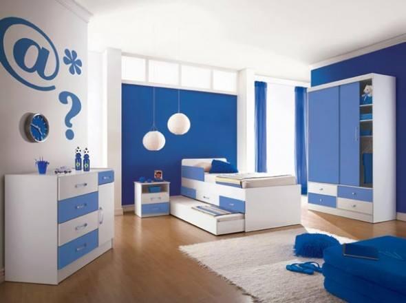 غرف نوم باللون الابيض والازرق المرسال