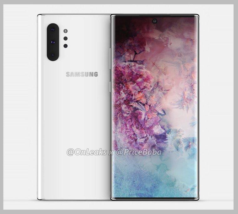 هاتف Galaxy Note 10 الثقب الكامرة في الوسط