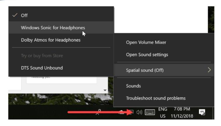 تفعيل الصوت المحيطي WINDOWS 10