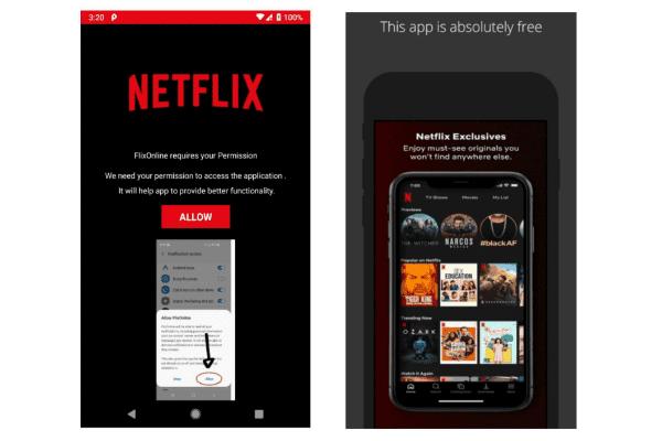 تطبيق Netflix مزيف