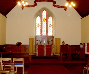 View of the altar of Denwick Chapel