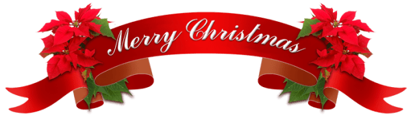 """Red ribbon with the test """"Merry Christmas"""""""