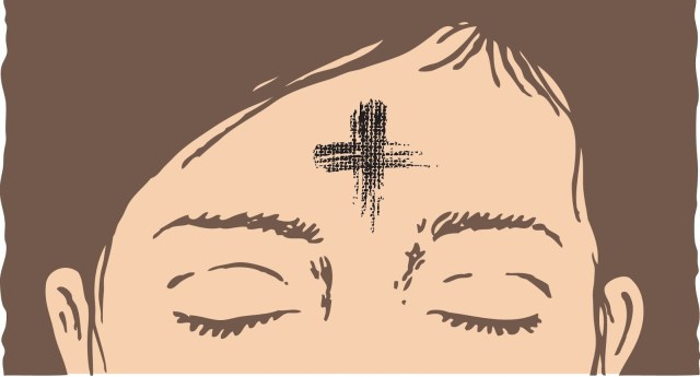 A drawn image of a woman's forehead with a cross made of ashes on it