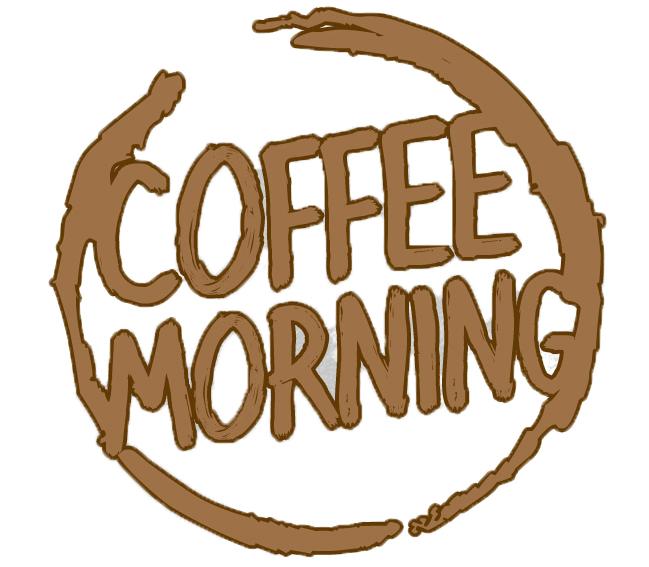 Logo imitating a coffee mug stain with the words 'Coffee Morning'