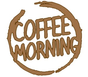 Logo imitating a coffee mug stain with the words 'Coffee Morning'