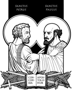 Line drawing of Peter and Paul with text 'Sanctus Petrus' and 'Sanctus Paulus'