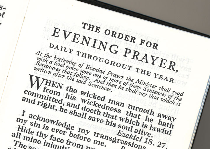 Reproduction of a page from the Book of Common Prayer
