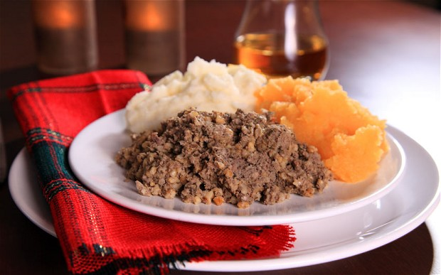 A plate of haggis, neeps and tatties.