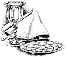 Image depicting Holy Communion: cup of wine and plate of wafers