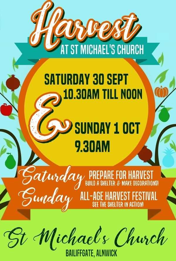 "A flyer with the words ""Harvest at St Michael's Church"""
