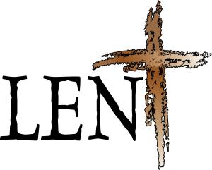 "Graphic stating ""Lent"" with a cross image"