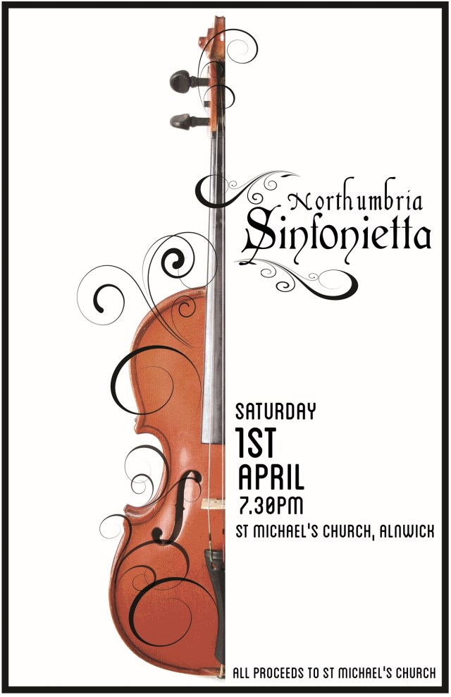 "An image showing half a violin and some swirls, with the text ""Northumbria Sinfonietta, Saturday 1st April, 7.30pm St Michael's Church"""