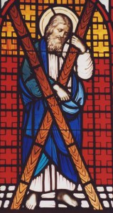 Stained glass depiction of St Andrew