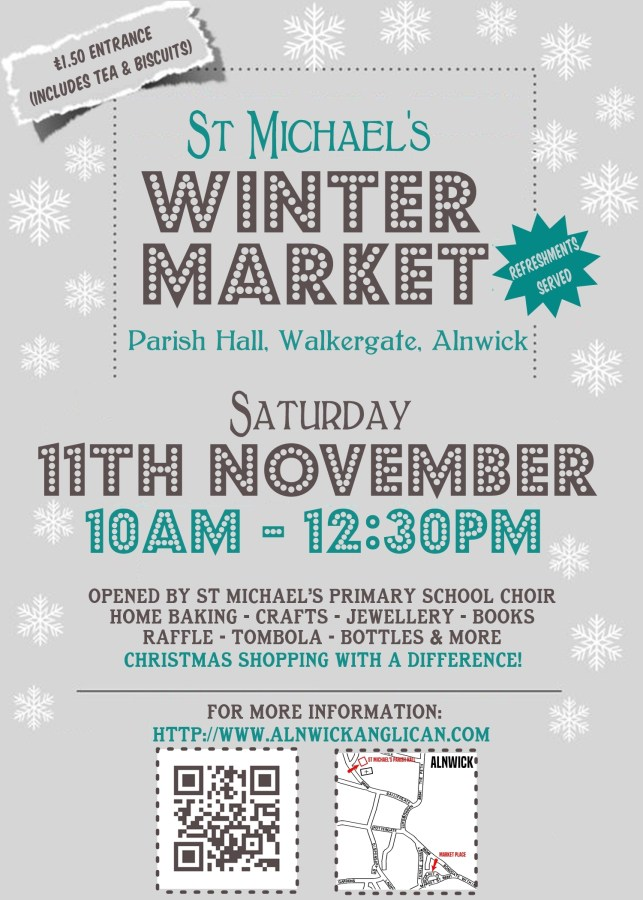 "A grey poster with white snowflakes and dark grey and teal text saying ""St Michael's Winter Market"" and giving information from the text above this image."