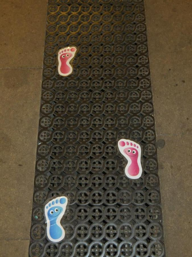 Footprints up the aisle