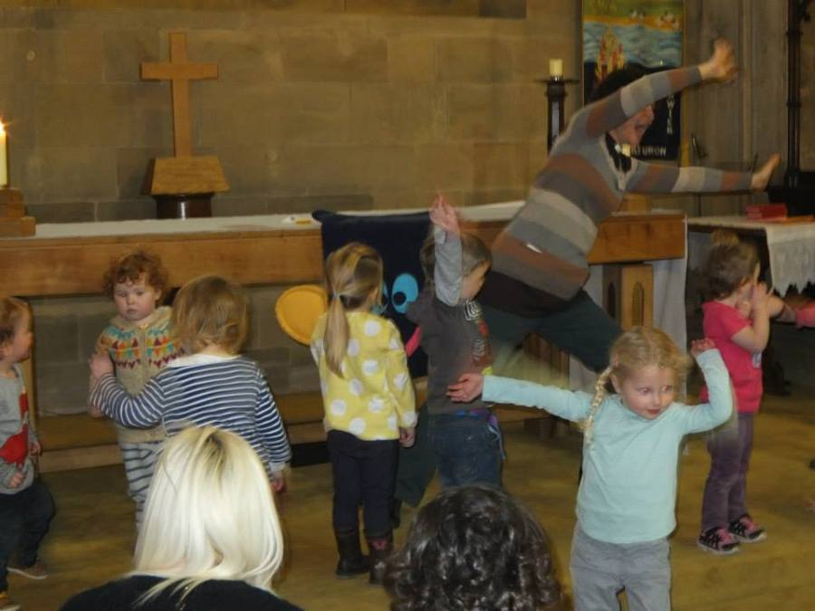Children and Curate dancing