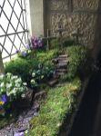 An Easter garden in a church porch