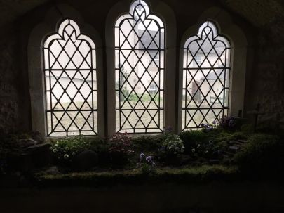 An Easter garden in a church porch