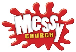 A splash of red with the words 'Messy Church'