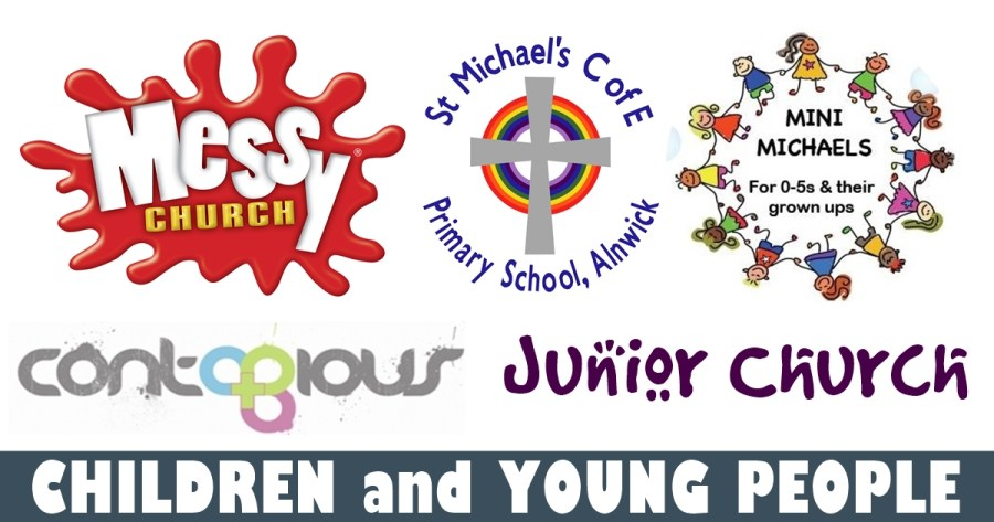 Logos for Messy Church, St Michael's Primary School, Mini Michaels, Contagious and Junior Church with the text 'Children and Young People'