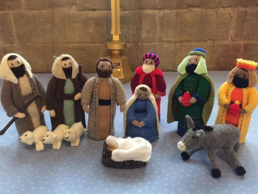 A nativity scene made from knitted figures