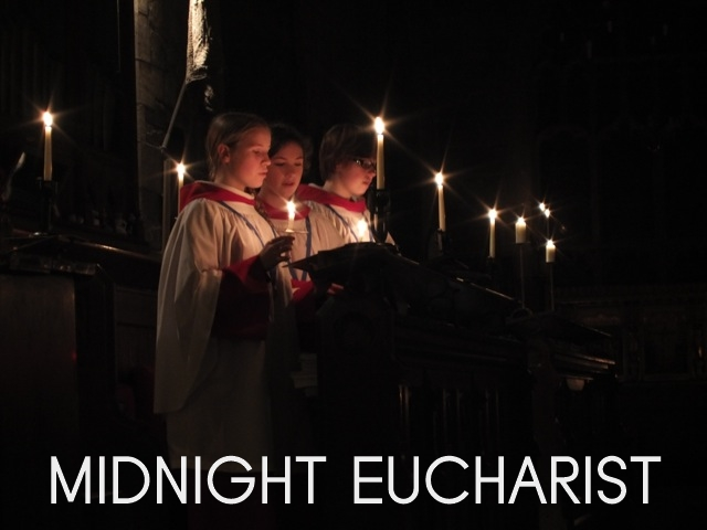 "A photograph of the St Michael's choir singing, and the words ""Midnight Eucharist"""