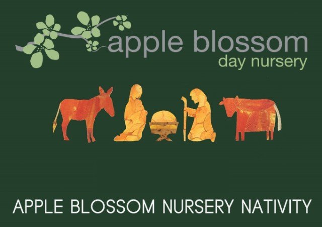 "An image of a nativity scene against a green background with the words ""Apple Blossom Nursery Nativity"" and the Apple Blossom Day Nursery logo"