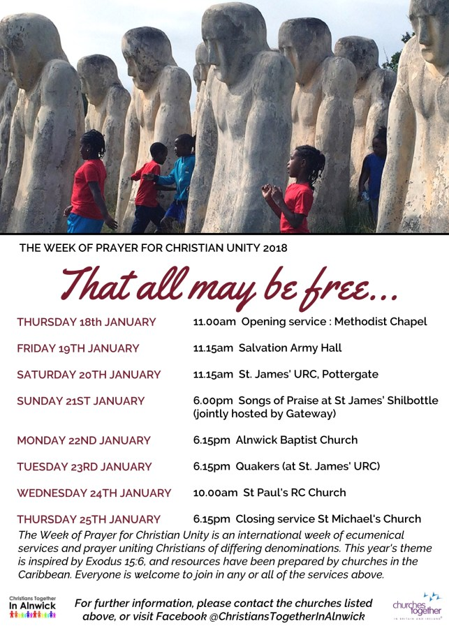 A poster with the dates and times of the Week of Christian Unity services in Alnwick