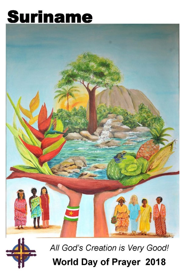 A colourful image of hands holding up a tree, hills, water, fruit and leaves scene, with people in the background