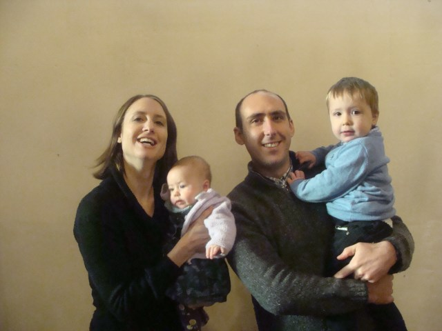 A photograph of an adult man and woman and two small children; our new Curate, Gerard Rundell, his wife Karen, and their children Theo and Phoebe