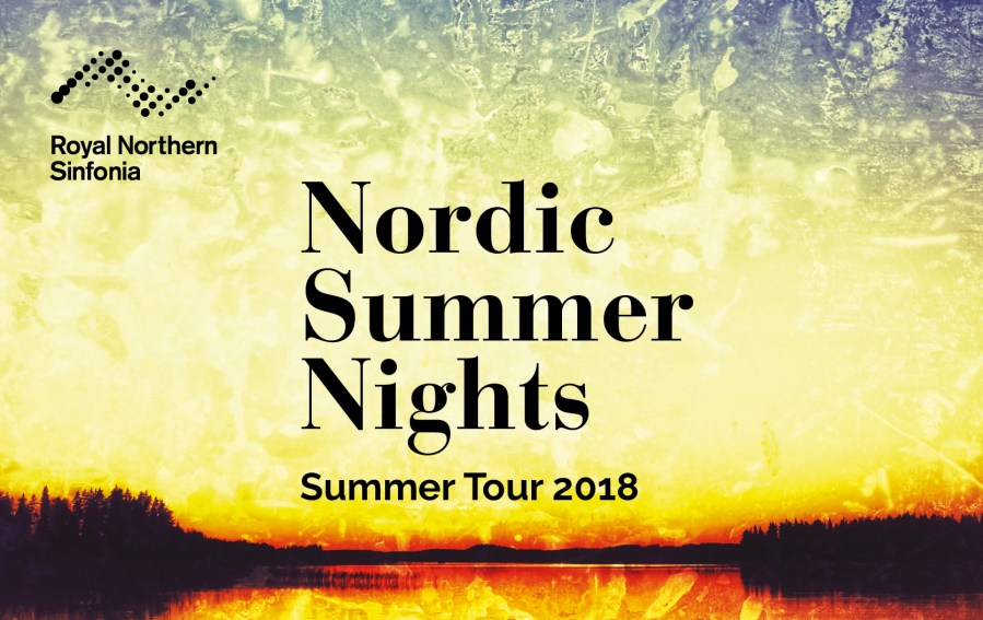 """An image of a yellow-tinged night sky with the words """"Nordic Summer Nights: Summer Tour 2018"""" and the logo of the Royal Northern Sinfonia"""