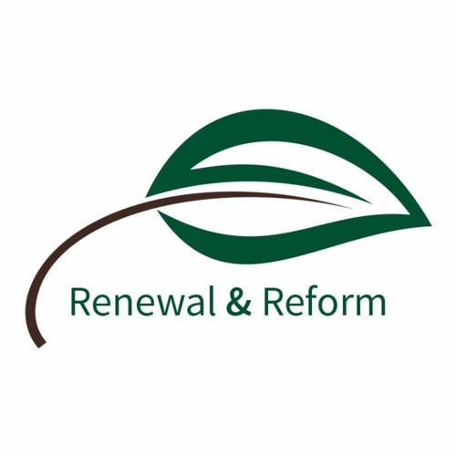 "A graphic of a green leaf with the text ""Renewal and Reform"""
