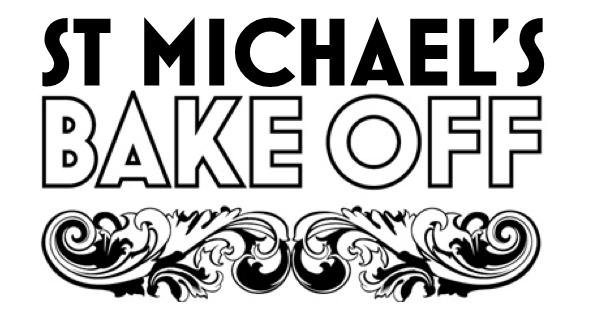 "The words ""St Michael's Bake Off"" with a filigree pattern beneath"