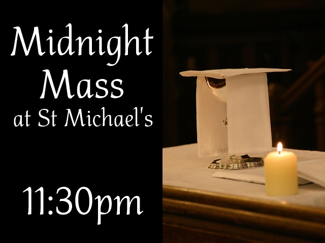 "An image of a covered chalice, flanked by a candle, with the words ""Midnight Mass at St Michael's 11:30pm"""