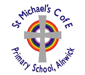 "A grey cross on top of a circular rainbow with the text ""St Michael's C of E Primary School, Alnwick"""