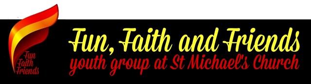 "A stylised flame logo with the text ""Fun, Faith and Friends youth group at St Michael's Church"""