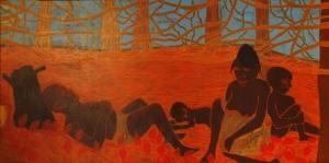 28B-B-Siesta-Acrylic-and-glitter-on-canvas-150-x-300-cm-2012