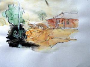 House-on-a-hill-side-Water-Color-on-Paper-2000