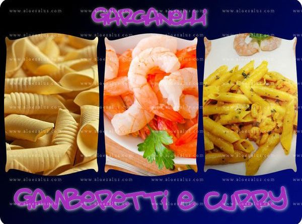 Garganelli con gamberetti, curry e Aloe Bits