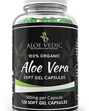Aloevedic – 100% Orgánica Gel de Aloe Vera cápsulas blandas – 500 mg ( 120 tabletas ) -Para Detox La digestión del metabolismo y de cuidado de la piel en oferta