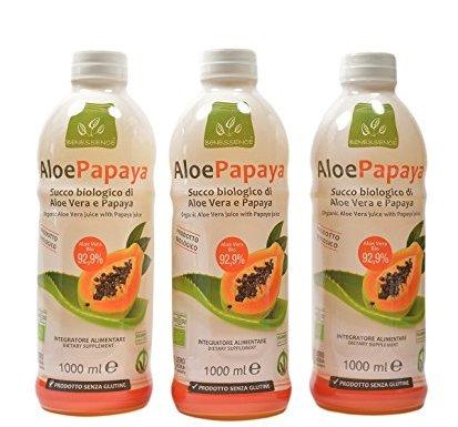 Oferta 3 Zumo de beber biológico de Aloe Vera y papaya – 3 litri