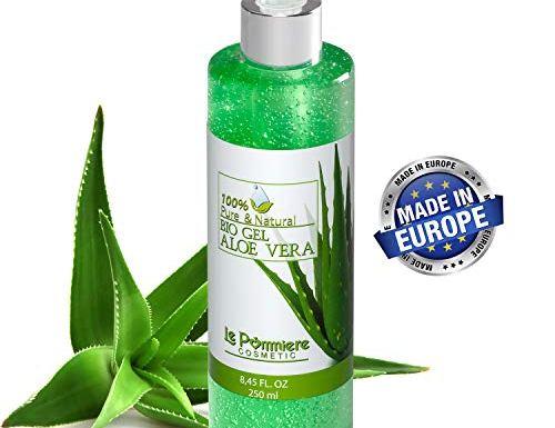 Le Pommiere Bio Gel Aloe vera puro 250ml hidratante natural. Refresca la piel irritada por el depilado y afeitado. Ideal para quemadura solar y picadura de insectos. Regenerador facial & corporal