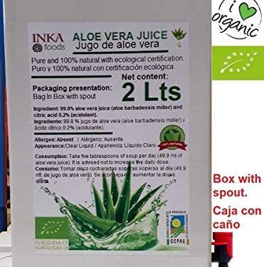 Puro Jugo de Aloe Vera – 100% natural y orgánico. 2 Litros familiar