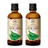 Aceite de Aloe Vera 2x100ml – Aloe Barbadensis – Brasil – 100% Natural 200ml – Botella de Cristal – Cuidado Intensivo para el Rostro – Cuerpo – Masaje – Cosmético para el Cuidado Corporal