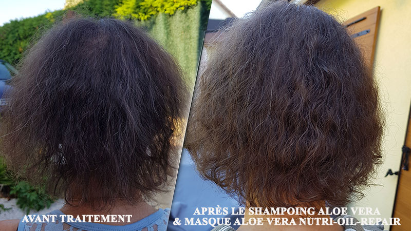 Résultat après 1 shampoing & masque Aloe Via Nutri Repair